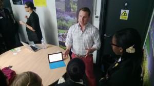 Jonny talking to school kids